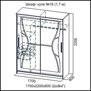 Шкаф-купе №16 (СВ) 1700мм