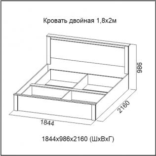 Кровать двойная 1,8х2,0 Гамма-20